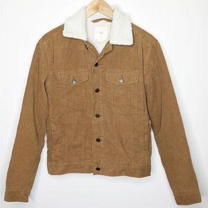 H&M Corduroy Sherpa Fleece Lined Jacket Tan Beige Adult Unisex Size Small EUC